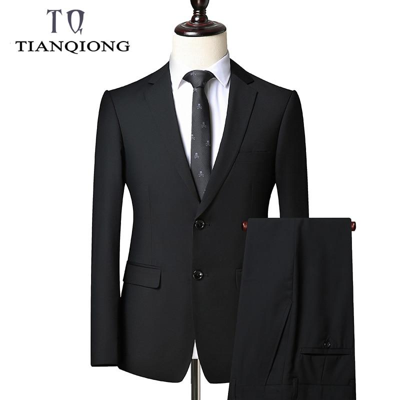 TIAN QIONG 2019 New Luxury Suit Jacket+Pants Mens Black Suits With Pants Classic Wedding Business Slim Fit Party Suit Men