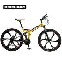 Запуск Leopard складной bicycmountain велосипеда 26 дюймовый стальной 21 Скоростные Велосипеды двухдисковые тормоза дорожные велосипеды racing bicyc BMX БИК