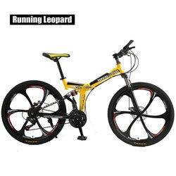 Складной горный велосипед Running Leopard, BMX-байк, внедорожный велосипед, колеса 26 дюймов, стальной корпус, 21 скорость, два дисковых тормоза