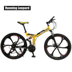Berjalan Leopard Lipat Bicycmountain Sepeda 26 Inci Baja 21 Kecepatan Sepeda Dual Rem Cakram Sepeda Balap Bicyc BMX Bik