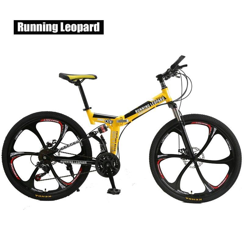 Correr leopardo plegable bicicleta de montaña 26 pulgadas acero bicicletas de 21 velocidades doble disco frenos bicicleta de carreras bicicleta BMX Bik
