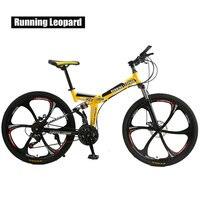Running Leopard foldable bicycmountain bike 26 inch steel 21 speed bicycles dual disc brakes road bikes racing bicyc BMX Bik