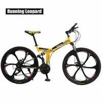 Vélo de montagne pliable léopard 26 pouces en acier 21 vitesses vélos double freins à disque vélos de route vélo de course BMX Bik