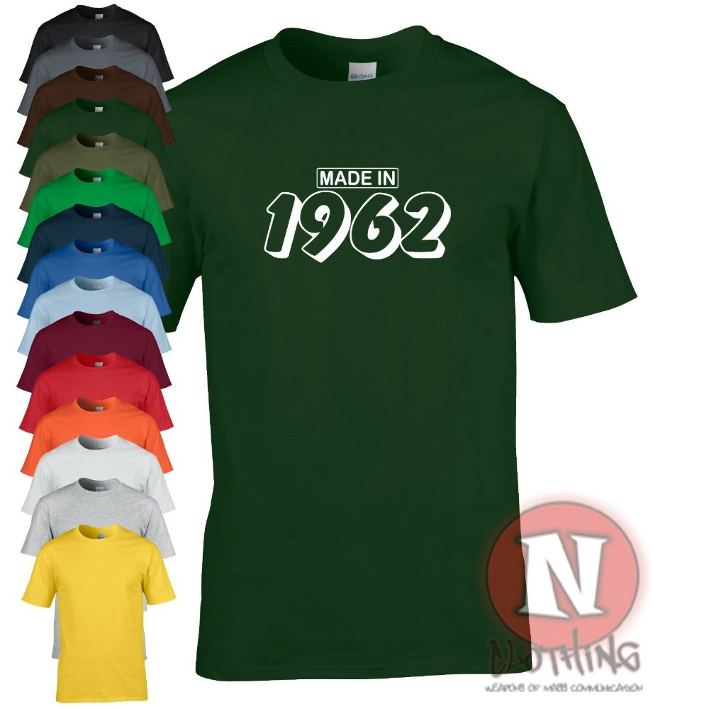 Hecho En 1962 Camiseta Regalo Fiesta Divertidonew moda Camiseta letra gráfica Camiseta Hombre Casual algodón manga corta T camisa