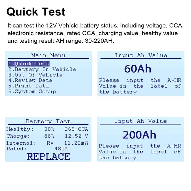 Ancel BA101 Car Battery Tester 12V Digital Battery Tester Analyzer 100 2000CCA 220AH with Japanese Korea French Car Diagnostic