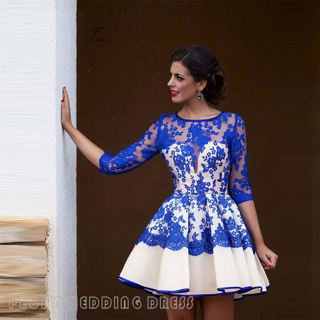 7e0b1762909 Short Royal Blue White Lace Homecoming Dresses Sleeves See Through Homecoming  Dress 8th Grade Graduation Dress