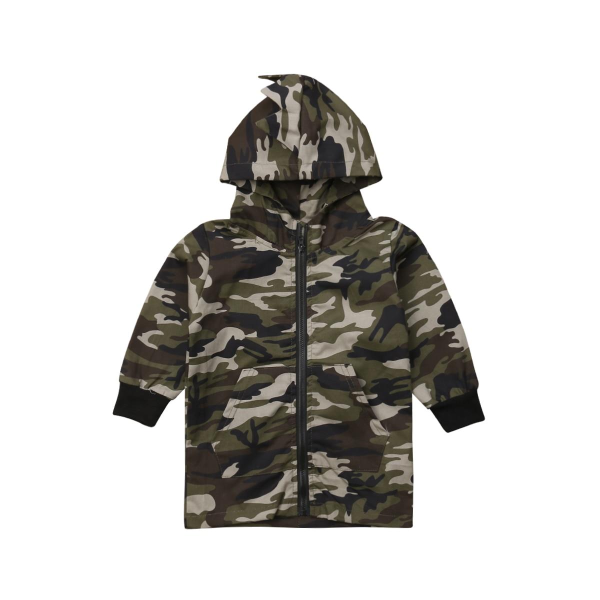 Fashion Toddler Coat Outwear Winter Autumn Kid Boy Camouflage Jackets Dinosaur Zipper Coat Top Hooded Outwear Hoodies