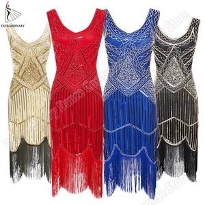 Image 5 - Women Party Dress 1920 s Great Gatsby Flapper Vestidos Sequin Bead Fringe Dress Evening V Neck Embellished Fringed Sleeveless