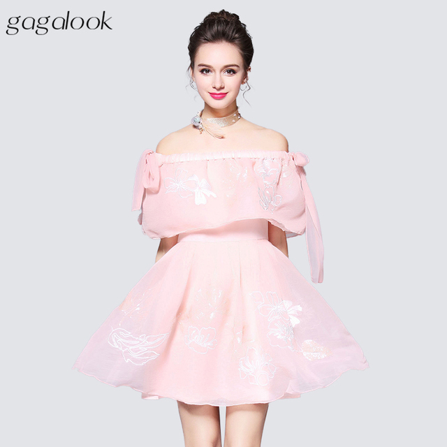 Gagalook Off Shoulder Tulle Dress Women Sexy Flounce Embroidered