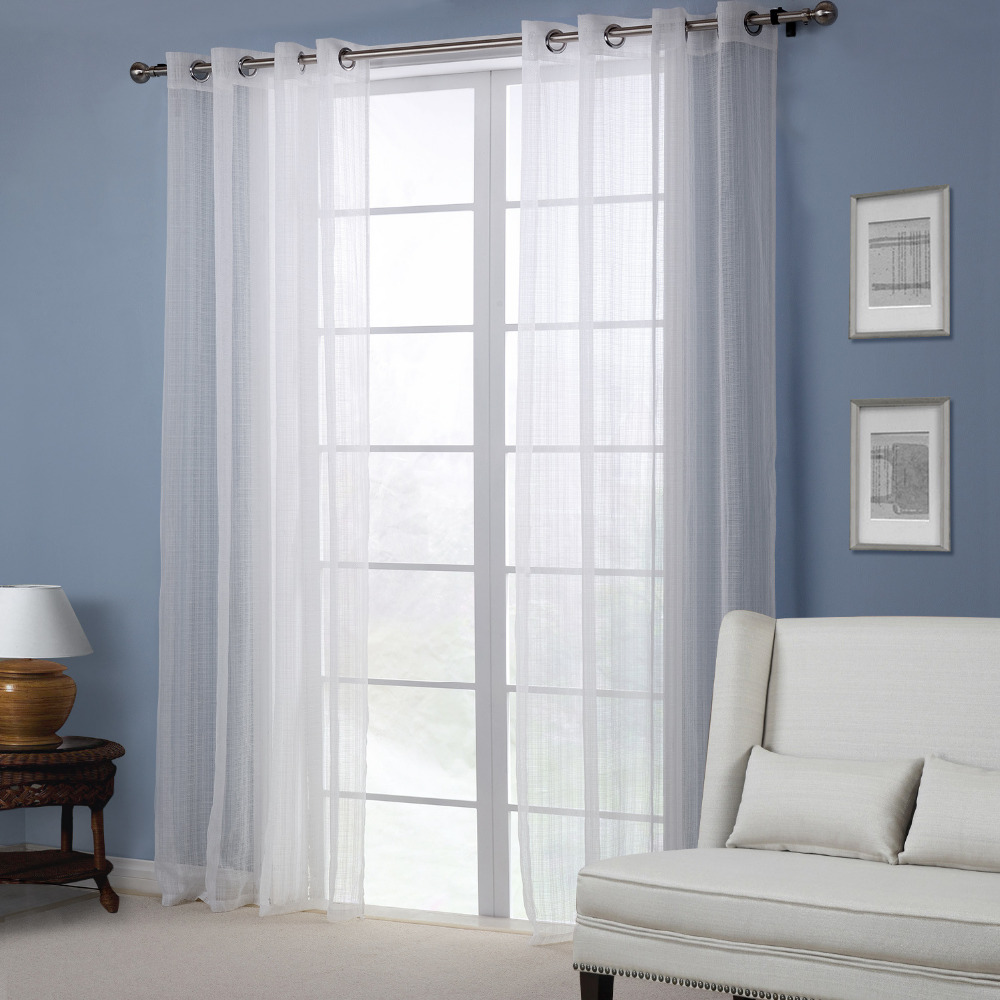 un par barato blanco de tul cortinas para la sala de estar cortinas de lino pura