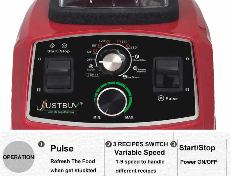 Temporizador BPA Livre Misturador Liquidificador Pesados da Classe Comercial Smoothies de Frutas Juicer Processador De Alimentos Triturador de Gelo Automático 2200W