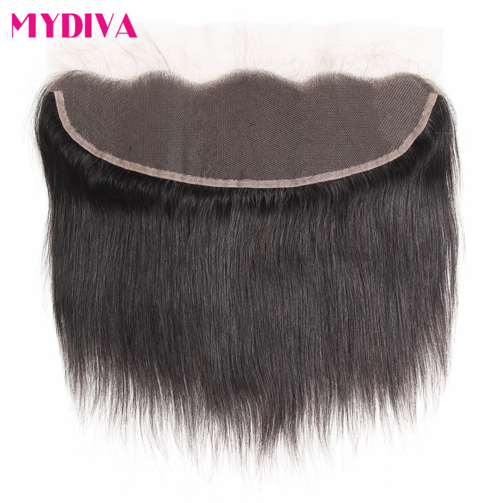 Ear To Ear Lace Frontal Closure Non Remy Brazilian Straight Human Hair Closure With Baby Hair 8-18inch Free Shipping Mydiva