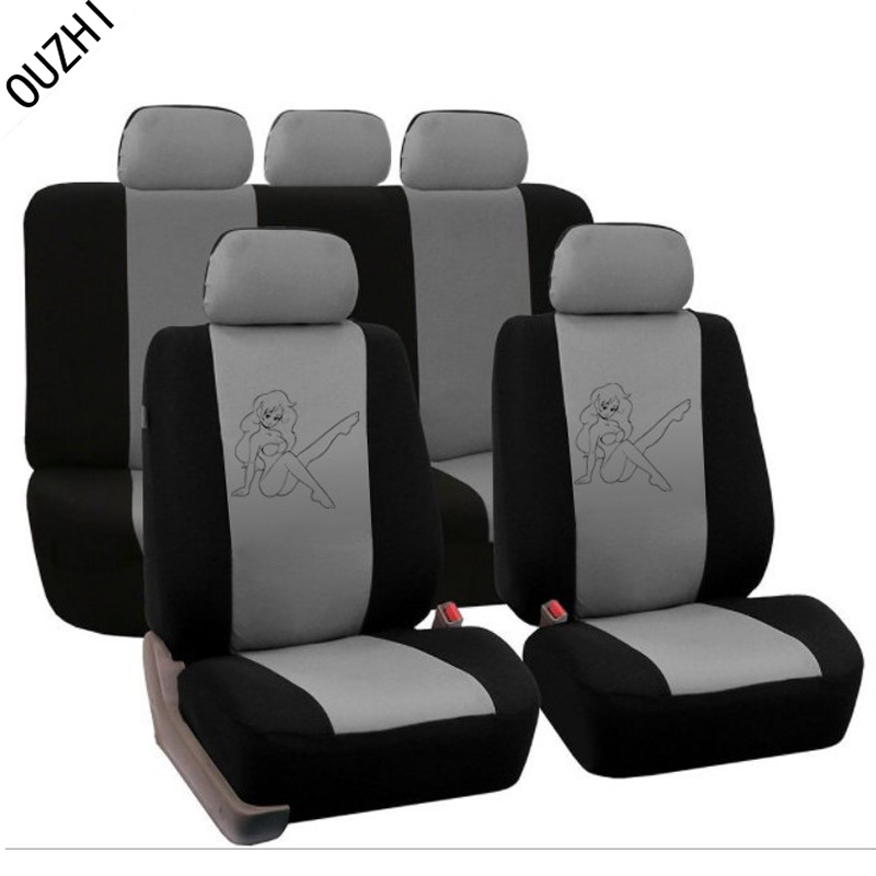 printing beautiful girl beige grey blue red universal car seat covers front and rear complete Seat ...