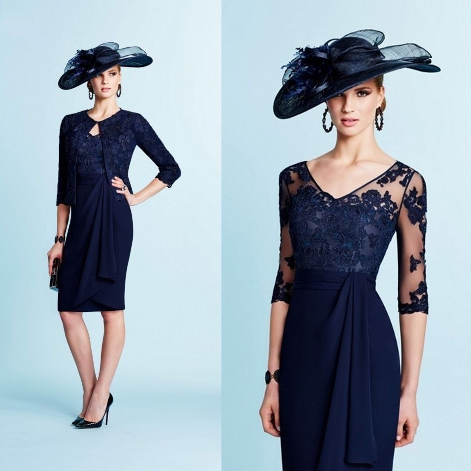 Mother of the Bride Dresse for Weddings Navy Blue Lace With Half Sleeves Jacket Knee Length Chiffon Evening Dress Formal Gowns