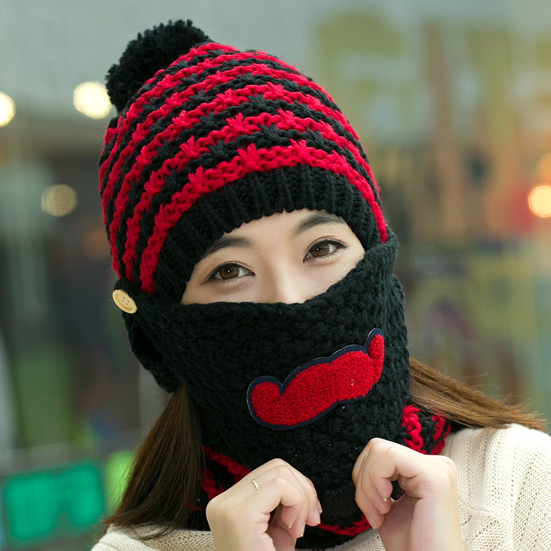 Hat Scarf Mask Sets Female Winter Knitted Hat Knitted Autumn And Winter Thermal Masks Cap Plus Velvet Cycling Cap Ear