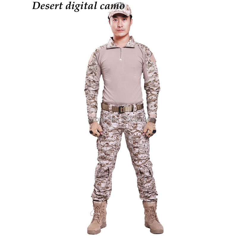 Tactical G3 Uniform Hunting Combat Shirt Cargo With Pants Knee Pads Camouflage Bdu Army Military Men Clothing Set ACU FG BLACK tactical g3 uniform hunting combat shirt cargo with pants knee pads camouflage bdu army military men clothing set acu fg black