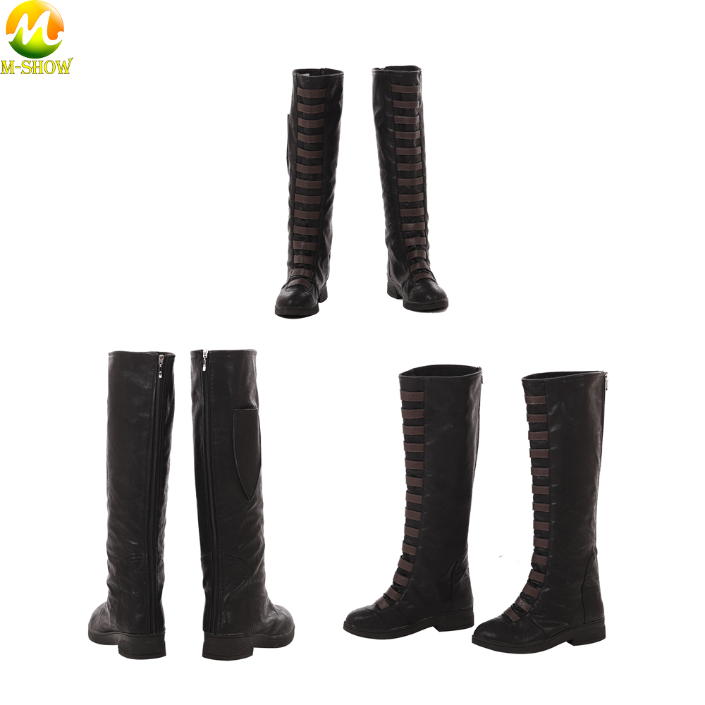 Free Shipping Deadpool 2 Domino Cosplay Boots Women Character Cosplay Shoes Brown Fashion Boots For Halloween