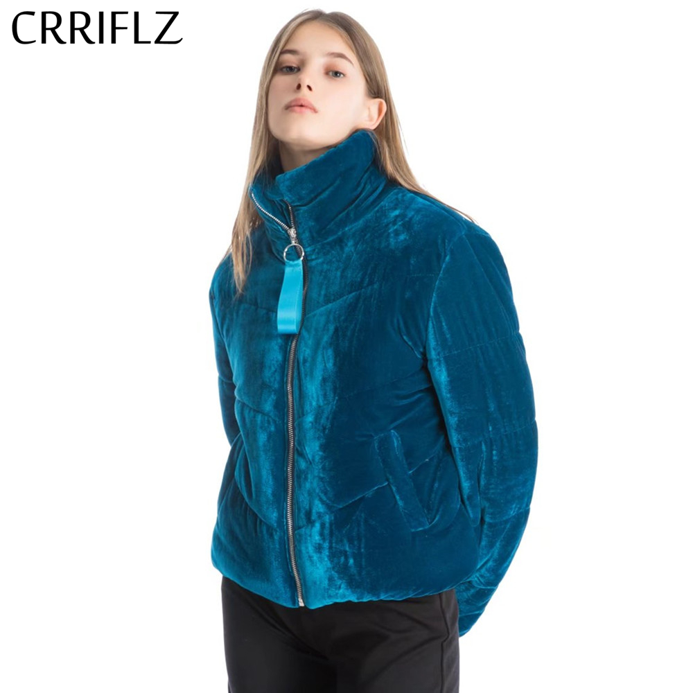CRRIFLZ New Velvet cotton padded   basic     jacket   coat Women warm wine red parkas   jackets   female Autumn winter casual outerwear