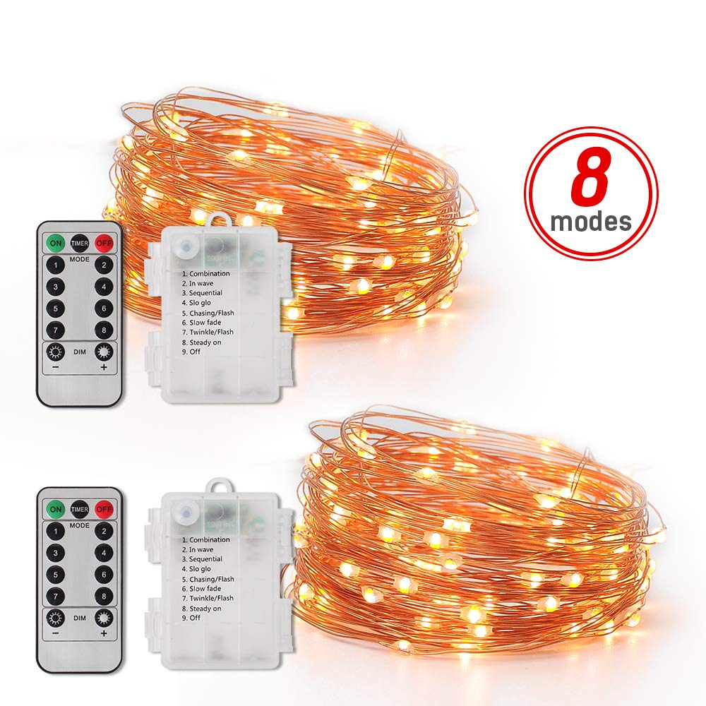 LED String Lights Battery Remote Control 5M Christmas Lights Bedroom Party House Decoration Dimmable String Fairy Light(2 PACK)