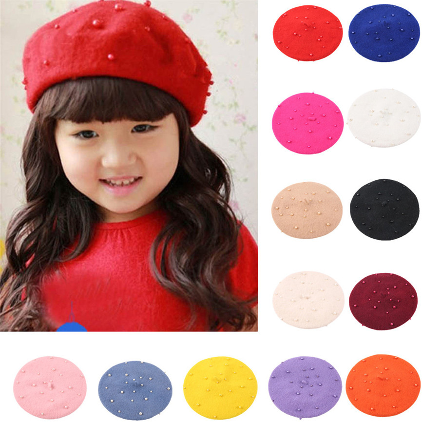 Baby Hat Toddler Baby Girls Pearly Headgear Warm Beret Kids Hat Cap For 2-5 Years old baby Sep#2