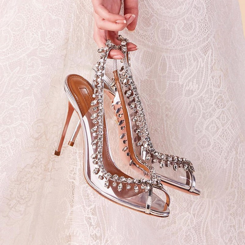 6f2af7af745 Handmade Blade Shoes Woman Pumps Crystal Embellished Silver Metallic  Leather and PVC slingback Heels Peep Toe Clear Sandals
