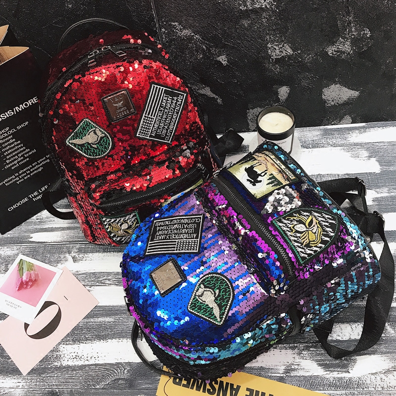 Sequin Backpack Korean version 2018 New Personality Badge Fashion Backpack Wild Casual 3