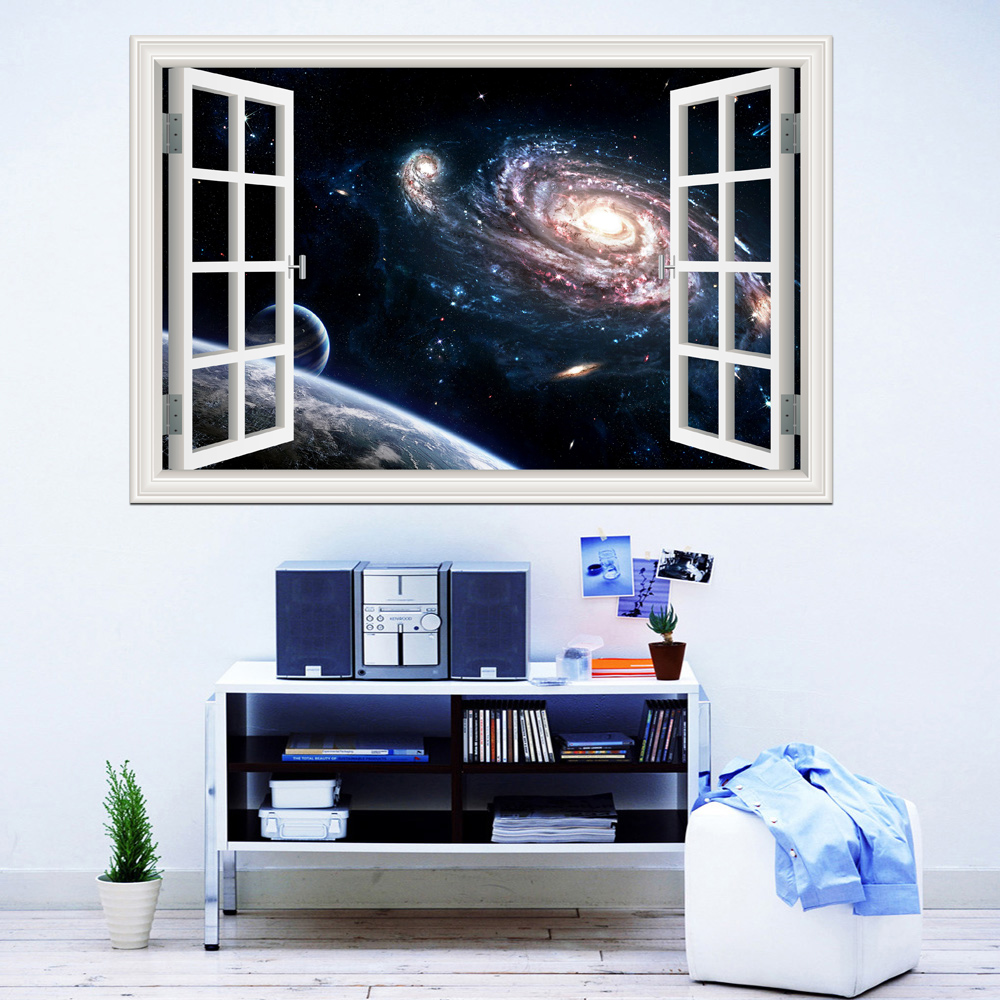 3d fönster Visa vägg klistermärken Outer Space Planet väggkonst Removable Wallpaper Väggkonst Galaxy Wall Sticker adesivo de parede