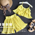 2016 New Summer Children Girls Chiffon Clothing Set Sling Tops Pleated Pants Skirt  Kids Girls Clothes Suits