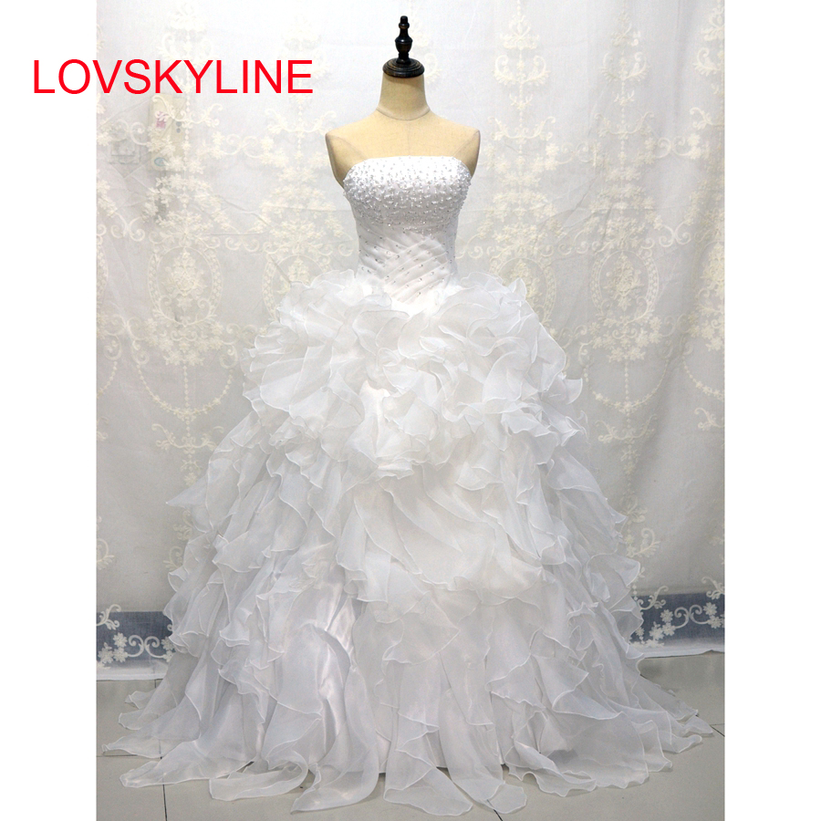 LOVSKYLINE Cheap In Stock Wedding Dresses   Sweetheart Organza Ruffled Plus Size Corset Bridal Gown Lace-up Back