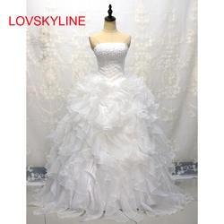 LOVSKYLINE дешевые в наличии Свадебные платья Милая органзы Раффлед Плюс Размеры корсет свадебное платье со шнуровкой сзади