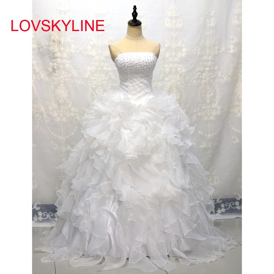 LOVSKYLINE Cheap in Stock Wedding Dresses Vestidos De Novia Sweetheart Organza Ruffled Plus Size Corset Bridal Gown Lace-up back