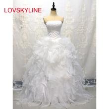 LOVSKYLINE Murah dalam Stok Wedding Dresses Pernikahan & De Novia Sayang Organza Mengacak-acak Plus Ukuran Korset Bridal Gown Lace-up kembali