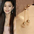 The new Korean fashion jewelry OL temperament long section of pearl earrings imitation gold plated free shipping