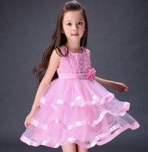 2016 Summer New Style Fashion dresses Children Girl's Princess Beaded Lace Bubble Vest Dress vestidos Girl's