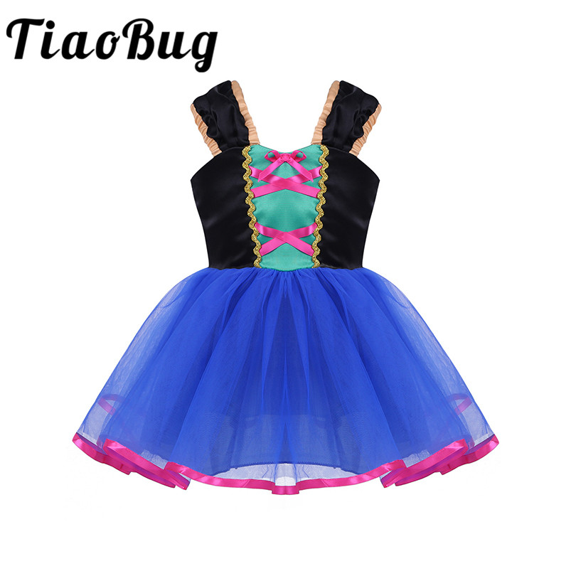 Tiaobug Kids Flower Girl Dresses Blue Knee Length Communion Cosplay Dress For Party vestidos de comunion Formal Tulle Dresses