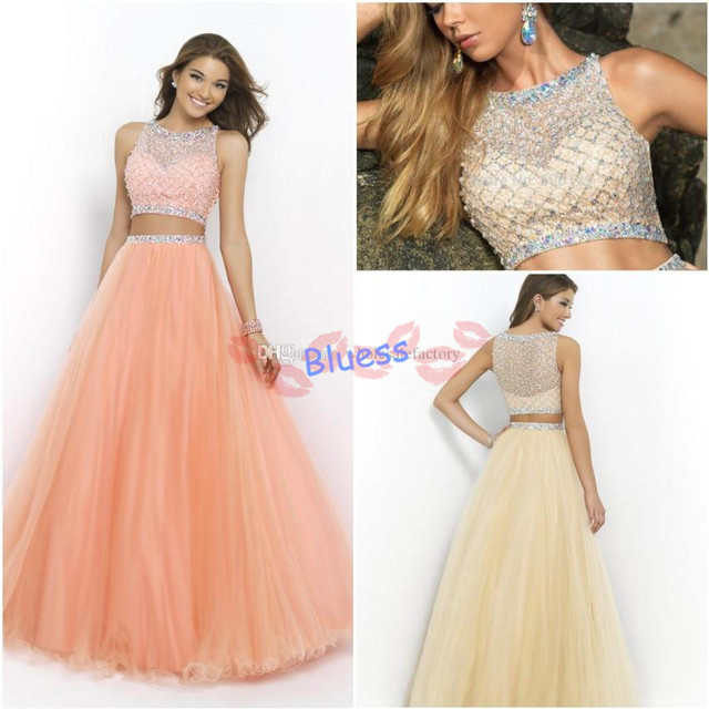 New Peach Coral Pink Sassy Two Pieces Prom Dresses Crew Sleeveless ...