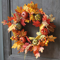 Halloween Party Decor Wall Ornament 1PC 40CM Halloween Pumpkin Berry Maple Leaf Fall Door Wreath Door Wall Ornament Decoration