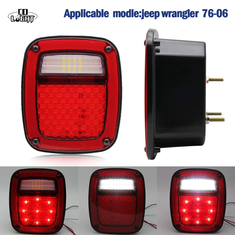 CO LIGHT for 1976-2006 Jeep Wrangler JK US version LED Tail Lights Brake Turn Signal Reverse Lamp Rear Lights 2 pcs led rear lights us europe version brake reverse tail lamps for atv 4x4 truck off road automobile auto for jeep wrangler