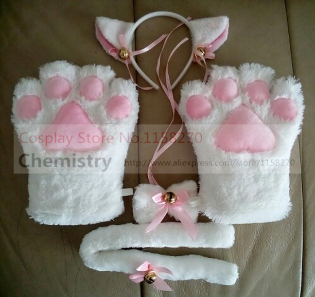 Cat Neko ears gloves tail bow tie Cosplay Costume