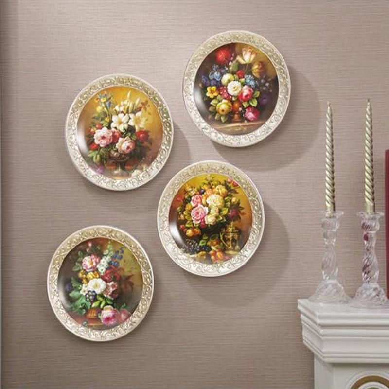 Creative oil painting plate, European ornamental vintage decorative ceramic plate, home office restaurant decoration crafts