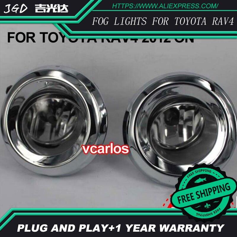 2шт / пара 4-дюймовый Галогенные Противотуманные фары для Тойота RAV4 2012-на Галоида наивысшей мощности Противотуманные фары авто DRL светодиодные фары освещения