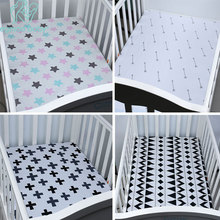 100% Хлопок Baby Fitted Sheet Cartoon Crib Матрас Protector Детская кроватка для кроватки размером 130 * 70 см