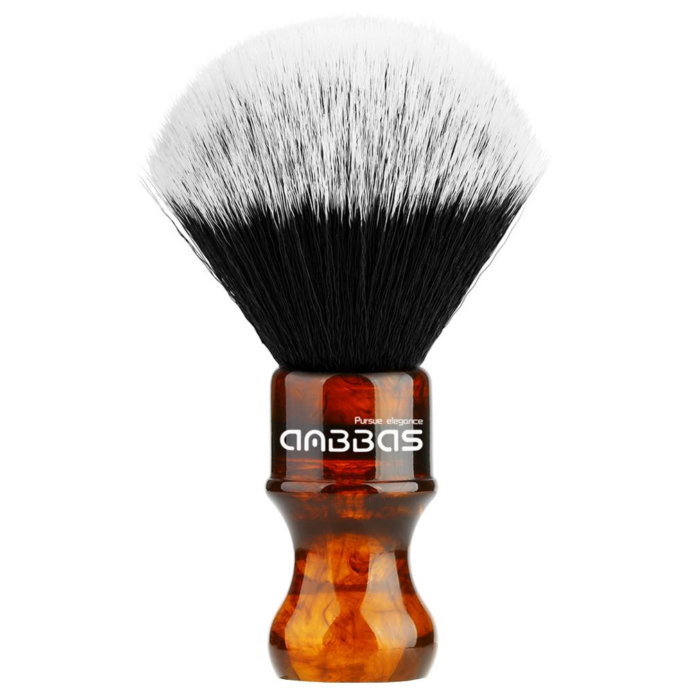 Amber Shaving Brush Silvertip Synthetic Badger Hair With Resin Handle Anbbas For Men Professional Wet Shaving (Knot 24mm) Amber