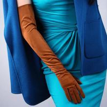 여자의 패션 우아한 가짜 스웨이드 가죽 장갑 레이디의 클럽 성능 공식 파티 갈색 색상 긴 운전 장갑 70cm R645