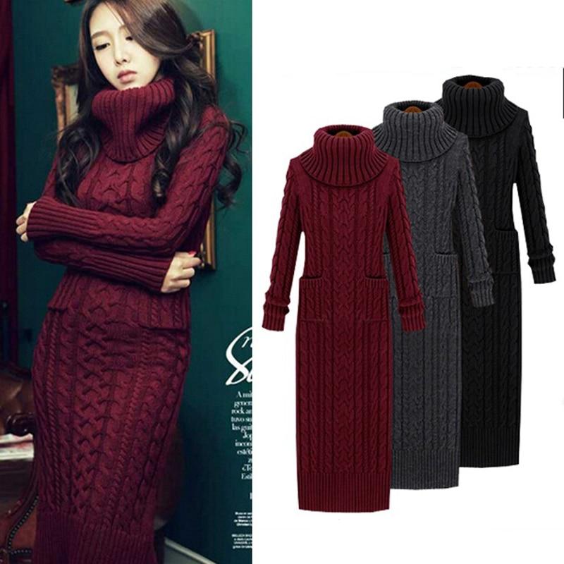 d80185e0e91 Women Winter Knit Dresses 2018 Europe Long Sleeve Turtleneck Casual Slim  Warm Maxi Sweater Dress Plus