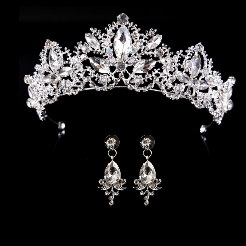 HTB1UHJpsgaTBuNjSszfq6xgfpXaB Bridal Wedding Tiara Headband with Earrings
