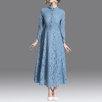 2019 New autumn lace Dress lady elegant temperament long dress peter pan collar long sleeve women dresses