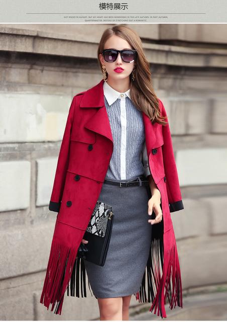 Designer 2016 nova mulheres outono inverno moda OL passarela camurça borla franjas de couro longo fino dupla breasted trench coat