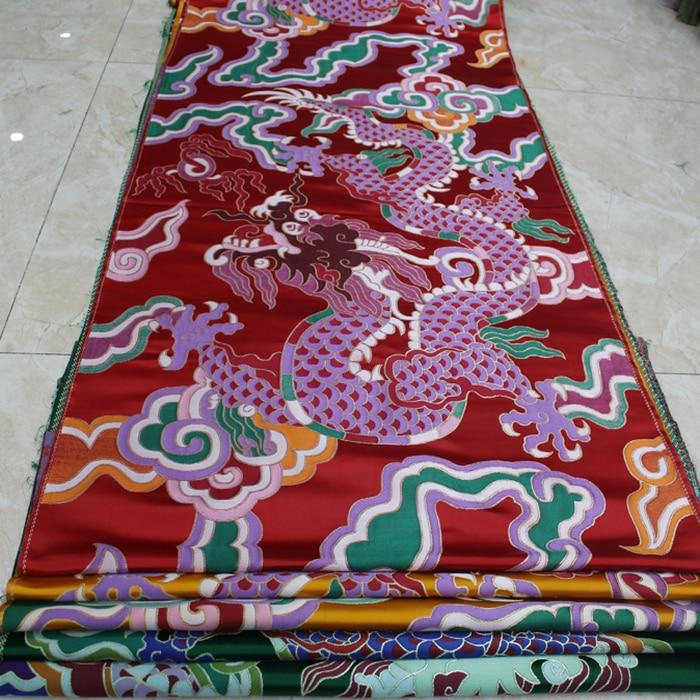 Chinese Wind Jacket Tibetan Robes Cheongsam Decorative Jacquard Brocade Fabric Spun Cloth Dragon Film/110*70cm(a Positioning