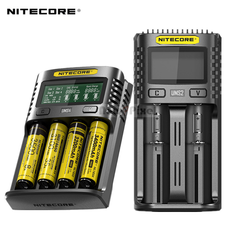 <font><b>NITECORE</b></font> UMS4 UMS2 SC4 Intelligent Faster Charging Superb Charger with 4 Slots Output Compatible 18650 14450 <font><b>16340</b></font> AA <font><b>Battery</b></font> image